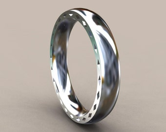 Silver 4mm Mens Wedding Band with Side Design, Classic Thin 925 Sterling Silver Wedding Ring, Hipster Ring, Mens Wedding Ring