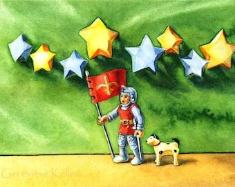 The Starry Knight, Print of Original Watercolor w/ Acid Free Mat