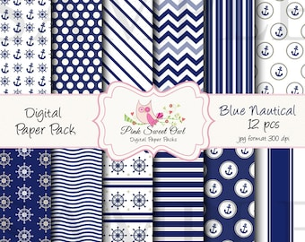 Nautical Digital Paper Pack - Digital Background - Paper background - blue nautical paper pack - nautical paper scrapbooking