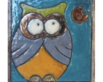 Raku ceramic tile owl