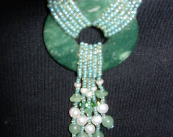 original hand beaded necklace made of jade,pearls,and other semi precious gemstones