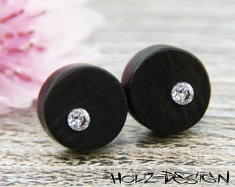 Wooden ear studs with Swarovski (R) Crystal Fake Plug Gauge Earrings wood fake piercing illusion personalized