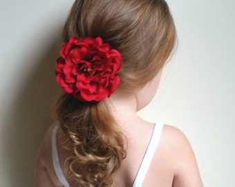 Red Flower Hair Clip * Floral Alligator Clip * For Toddlers, Girls, and Ladies