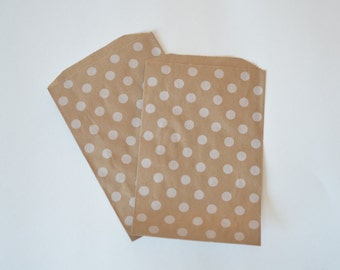 White Dot Kraft Paper Bags // Polka Dot Goodie Bags // DIY Favor Bags // Polka Dot Treat Bags 7.5x5 (Set of 25)
