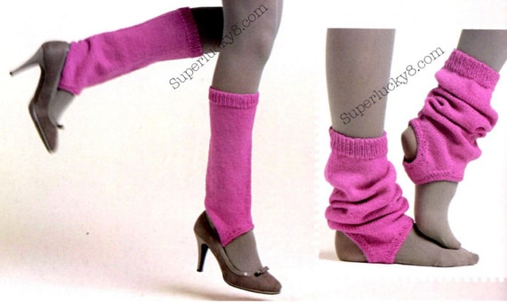 PDF knitting pattern Stirrup Legwarmers knit by Superlucky8com