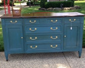 SOLD!! Deep Blue Chalk Painted Dresser Buffet Credenza with Walnut Top
