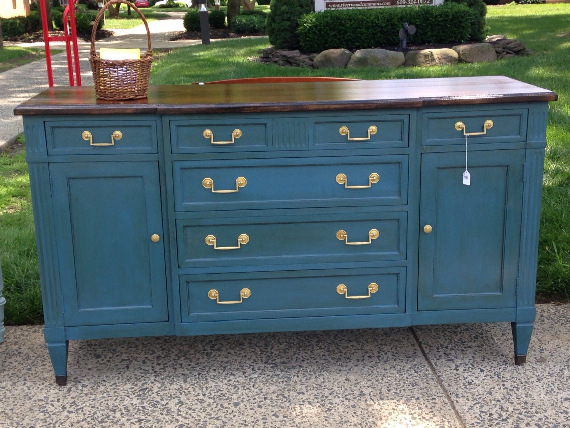 Sold Deep Blue Chalk Painted Dresser Buffet Credenza With