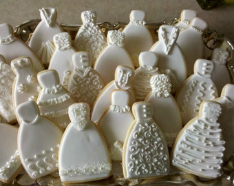 Custom 100 Bride Dress Sugar Cookies with White Ribbon and Silver Metal Charm for Bridal Showers, Wedding Showers, Favors, Gifts, Weddings