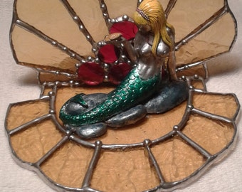 Cast Metal and Stained Glass Mermaid