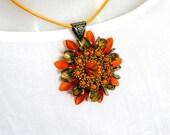 RESERVED FOR ZSUZSA! Beaded pendant, beadwork flower pendant Zioma, orange-gold-green color pendant