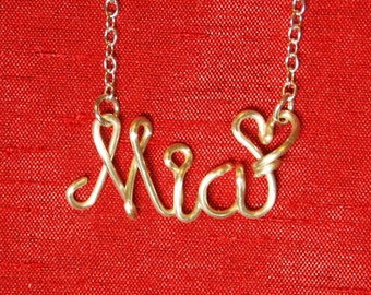 custom necklace personalize,Mia  necklace,Name Necklaces,Personalized wedding jewelery,Birthday gift,Bridesmaid necklace