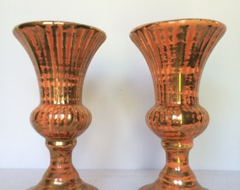 Vintage Pair of Orange Fluted Vases with Gold Detail