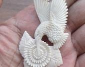 Colibri flower honey buffalo bone pendant Bali carving w/ silver hanger 2870 69x34 mm
