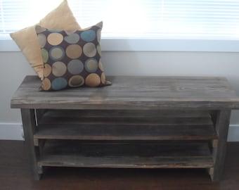 Reclaimed wood shoe rack, Rustic shoe rack, refurbished custom bench, salvaged wood shoe rack
