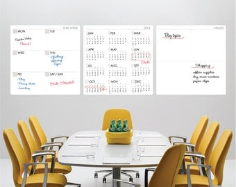 2018 DRY ERASE SET Yearly Calendar / Weekly / Memo - Erasable surface wall decals by GraphicsMesh