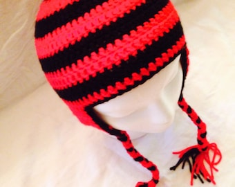 Red and Black adult sized beanie