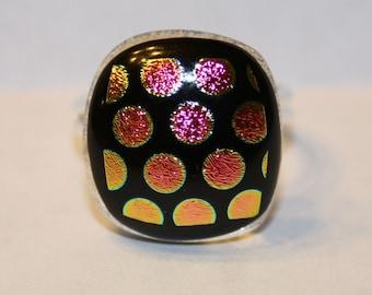 ON SALE - Handmade Dichroic Adjustable Ring - Fused Glass Jewelry - Glass Ring - Dichroic Glass Ring - Polka Dots