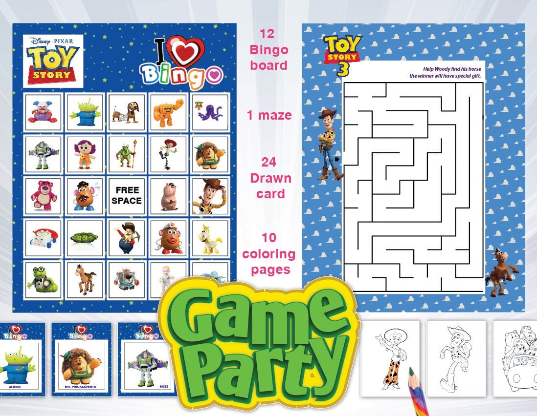 TOY STORY Party game Bingo maze color page Printable by 2moon