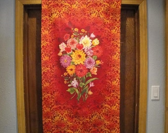 "Floral Panel-Reds & Oranges By Henry Glass-23"" X 43""-Gorgeous Colors Floral Panel-Reds and Oranges By Henry Glass-23"" X 43""-Gorgeous Colors"