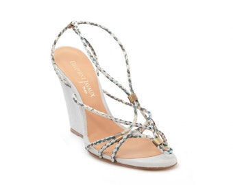 Sandal offset with frogged braided leather & Liberty - ivory