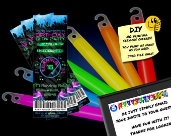 BIRTHDAY GLOW PARTY Invitation Printable Invite Emailable