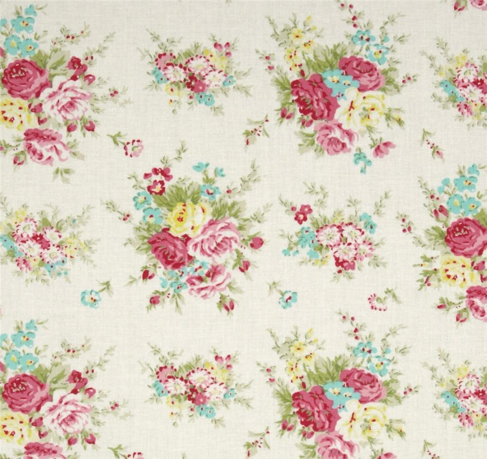 Tanya whelan rosey little bouquet ivory shabby chic fabric for Tissu shabby chic