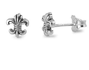 Fleur De Lis Stud Earrings 925 Sterling Silver