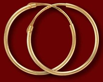 1x15 mm yellow gold hoop earrings (creolen), solid 375/1000 (9K) yellow gold earrings