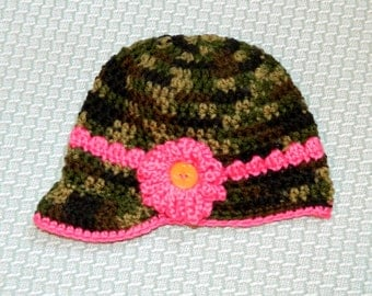Crochet Camo Newsboy Hat with Pink Band and Flower, size 6 - 18 months