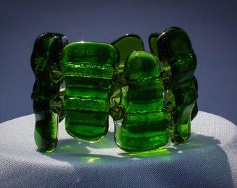 Stunning Green Fused Glass Bracelet