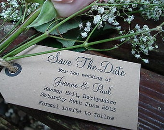 10 Personalised Vintage/Rustic/Shabby Chic Style Save The Date Tags