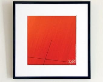 Red Lines Minimalist, Contemporary Black Diagonal Line, Pen Ink Drawing, Black Red Minimal Art, CROSSING THE BOUNDARY