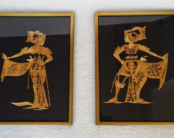 "Vintage Thai Straw Art / Wall Hangings Pair, Handmade Art Pictures with Thai Dancers, Custom Framed, 12"" x 16"""