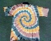 Brown & Black Spiral Tie Dye 100% cotton T-shirt, NON TOXIC, ENVIRONMENTAL Friendly.