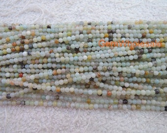 "15.5"" Natural amazonite 2mm round beads, Green gemstone, semi-precious stone, small green color DIY beads, gemstone wholesaler"