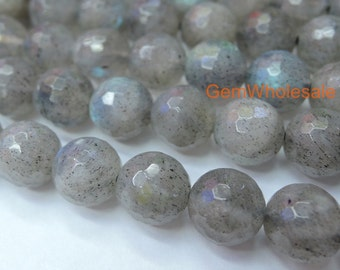"15.5"" Labradorite 2/4/6/8mm round faceted beads, 8mm 128 round faceted gemstone, semi-precious stone, grey color small DIY jewelry beads"