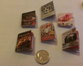 "6 Miniature Cooking and Baking Books for Dollhouse Cake Boss 1"" Scale  with Interior Pages"