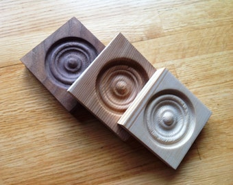 Hand Made Wooden Architectural Door Moulding Corner Blocks Rosette Bullseye Trim