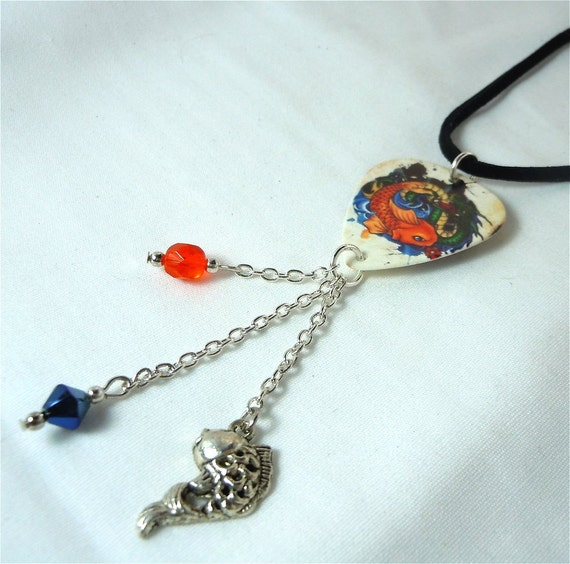 Koi fish guitar pick and black velvet cord necklace by for Koi fish guitar