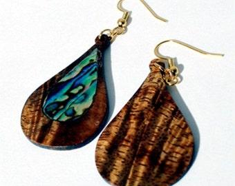Koa Wood/Abalone Inlay Earring, Wood Earring,Natural Hardwood, Hawaiian Koa Wood, Great Gift Idea, Dangle Earring, Sterling Silver,Exotic