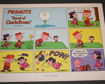 Father's Day, Charlie Brown and Lucy PLay Golf, Peanuts Comic, Retro, Nostalgic, Color, Charles M Schulz, Frame and Matte for Home Decor