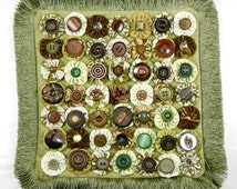 """Decorative Accent Pillow Yo-yo Complete / 12 1/2"""" x 12 1/2"""" / Unique Upholstery Fabrics / Vintage Buttons / Invisible Zipper / One of a Kind"""