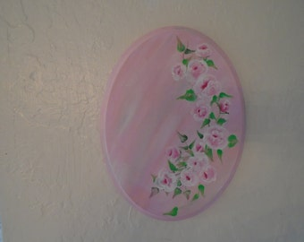 Beautiful Hand Painted Pink Roses Shabby Chic Cottage