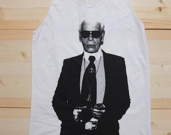 Karl Lagerfeld Fashion Designer Icon T-Shirt Vest Tank Top