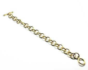 """8"""" Gold Charm Bracelet,  Sturdy 24K Gold Plated Bracelet w/ 26 Textured Loops,Toggle Clasp, Made in USA, #N157"""