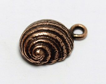 """Pewter Snail Charm, Copper Plated Snail Pendant, 5/8"""", Made in USA, #N150"""