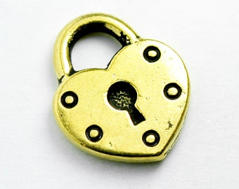 Heart Shaped Padlock Charm, 16x14mm, 24K Gold Plated, Made in USA, #TC163