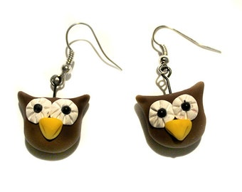 Polymer Clay Owl Earrings