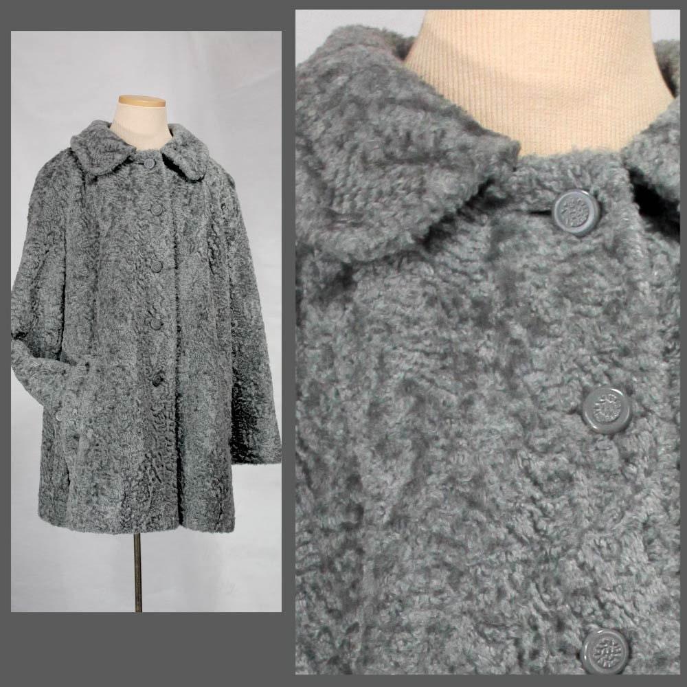 Faux Persian Lamb Fur Coat Gray Silver Swing Large L Grey 60s