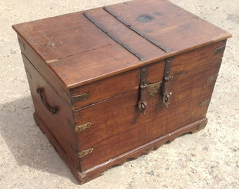 Antique wooden chest from Rajasthan.